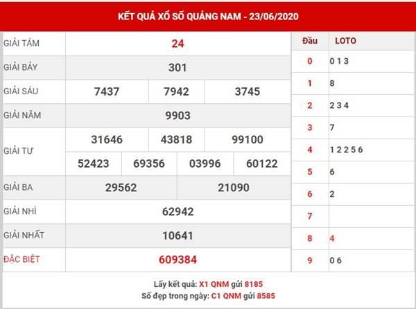Soi cầu KQXS Quảng Nam thứ 3 ngày 30-6-2020