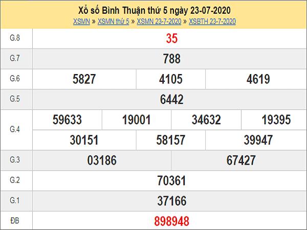 Soi cầu KQXSBT- xổ số bình thuận thứ 5 ngày 30/07/2020