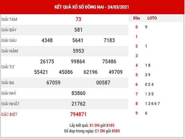 Soi cầu XSDN ngày 31/3/2021 - Soi cầu KQXS Đồng Nai thứ 4